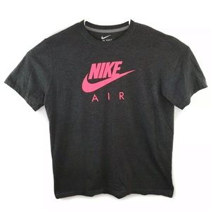 Nike Air Men's Swoosh Pink Grey Logo Graphic Tee
